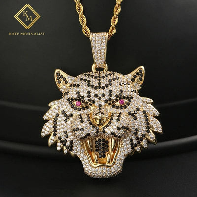 Exaggeration Personality Open Mouth Lion Head Pendant Necklace Full Of Rhinestone AAA Cubic Zircon Men's Women Hip Hop Jewelry