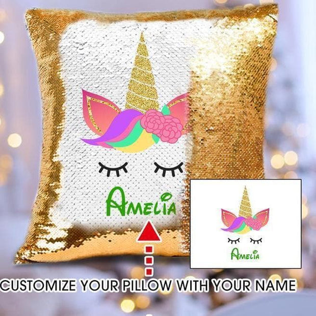 Personalized Unicorn Sequin Pillow Cover
