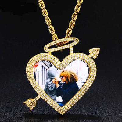 Trend Heart Arrow Memory Custom Picture Pendant Necklace Solid Back Micro Pave Charm With Angel Halo Men's Hip Hop Jewelry