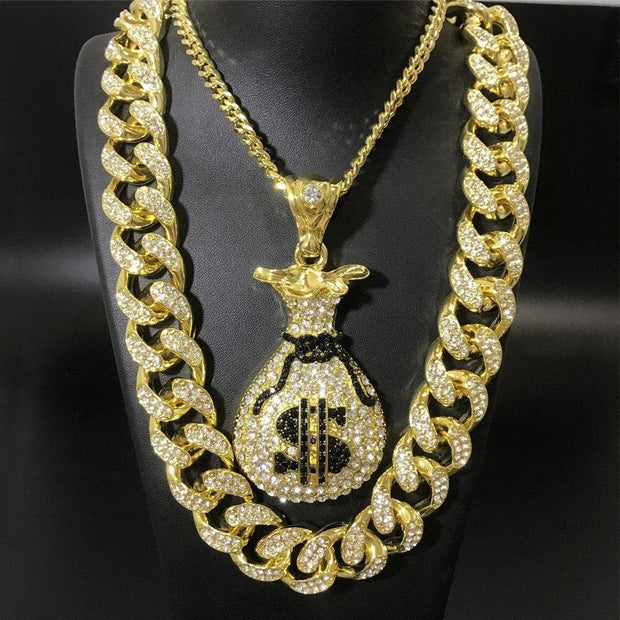 Hip Hop Men Crystal Miami Necklace Ice Out Cuban Chain Dollar Money Bag Pendant Bling Rapper Hip Hop Jewerly For Men