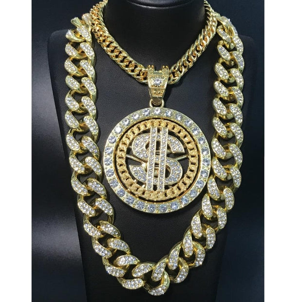 2CM Hip Hop Men Gold Sliver Necklace Ice Out Crystal Miami Dollar Sign Rock Pendant Set Bling Rapper Hip Hop Jewerly For Men 1