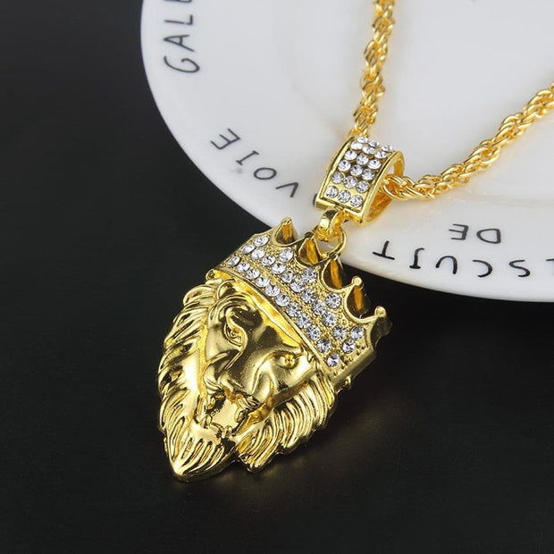 New Fashion Mens Full Iced Out Strassstone Lion Tag Pendentif Cuban Chain Hip Hop Collier