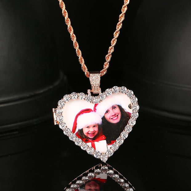 Custom Pictures Crystal Heart Medallions Pendant Necklace Gold Silver Cubic Zircon Men's Hip Hop Jewelry