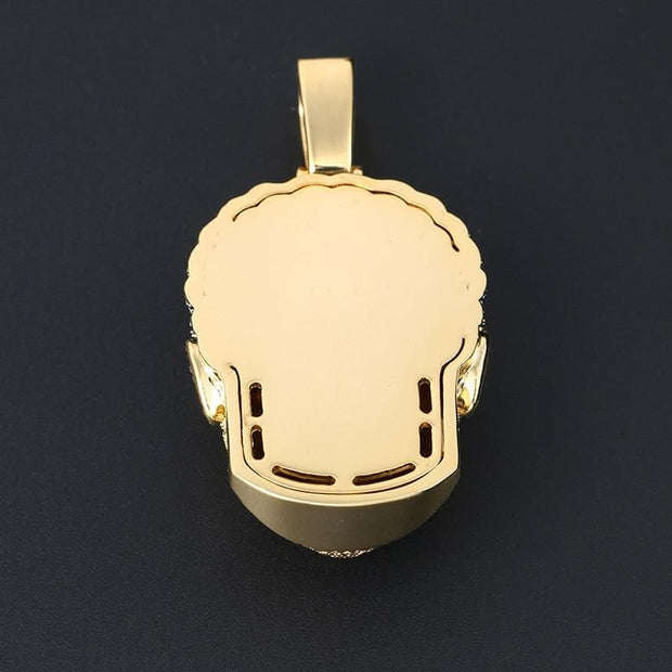 Fashion CZ Men Head Pendant Necklace With Cuban Chain Fashion Gold Color Hip Hop Necklace Personality Jewelry