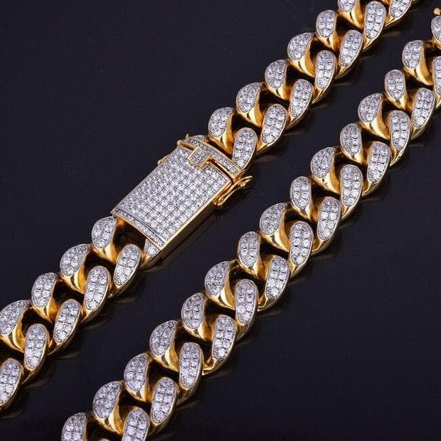 "Finish Men's 0.8Inch Heavy Iced Zircon Miami Cuban Link Necklace Choker Bling Bling Hip hop Jewelry Gold Color Chain 18"" 20"""