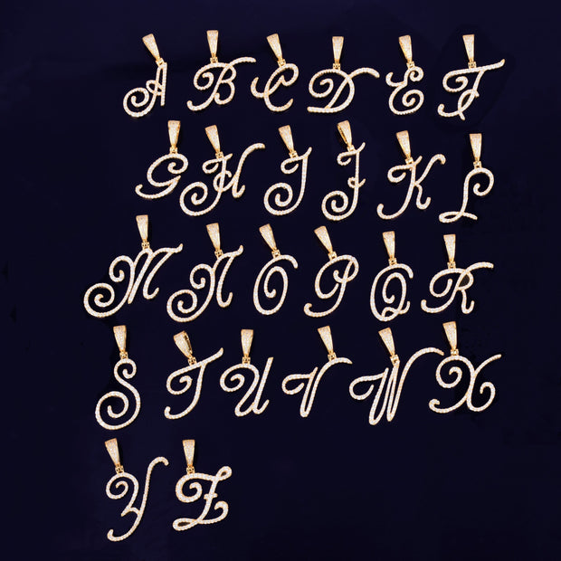 Gold Color Cursive Letter Pendant Necklaces Charm Men's Women Fashion Hip Hop Rock Jewelry with Rope Chain