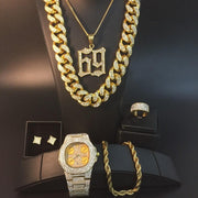 Luxury men Gold watch Hip Hop men Watch & Necklace & Braclete & Ring & Earrings Combo Set Ice Out Cuban Hip Hop Jewerly for men