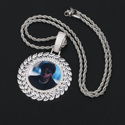 New Grain Custom Photo Round Medallion Solid Back Pendant Necklace With Tennis Chain Cubic Zircon Men's Hip hop Jewelry