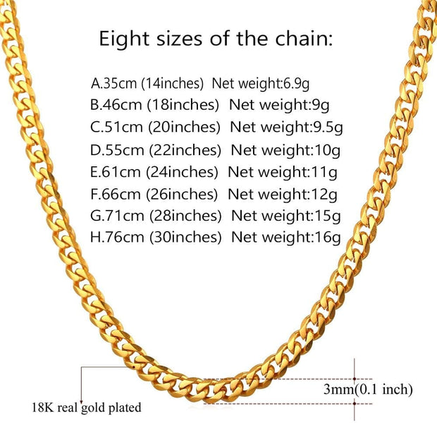 Cuban Link Chain Men Gold Color Stainless Steel Chunky Rapper Chain Necklace for Women Boys Hiphop Fashion Jewelry