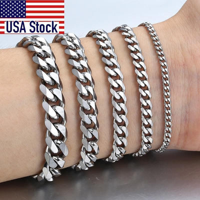 Men's Bracelets Stainless Steel Curb Cuban Link Chain Silver Color Black Gold Bracelet Men Women Jewelry Gift