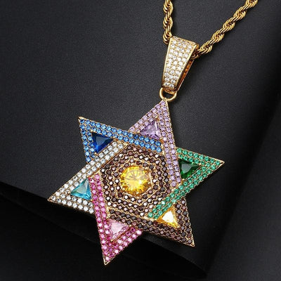 Fashion Color Star Pendant Necklace Chain Full Of Crystal Bling Cubic Zircon Men's Women Hip Hop Jewelry Personality Gifts