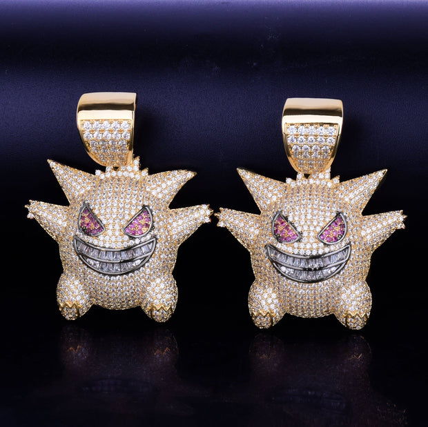 Funny ghost Cartoon Pendant Gold Color Charm With Baguette Zircon Men's Hip hop Rock Necklace Jewelry