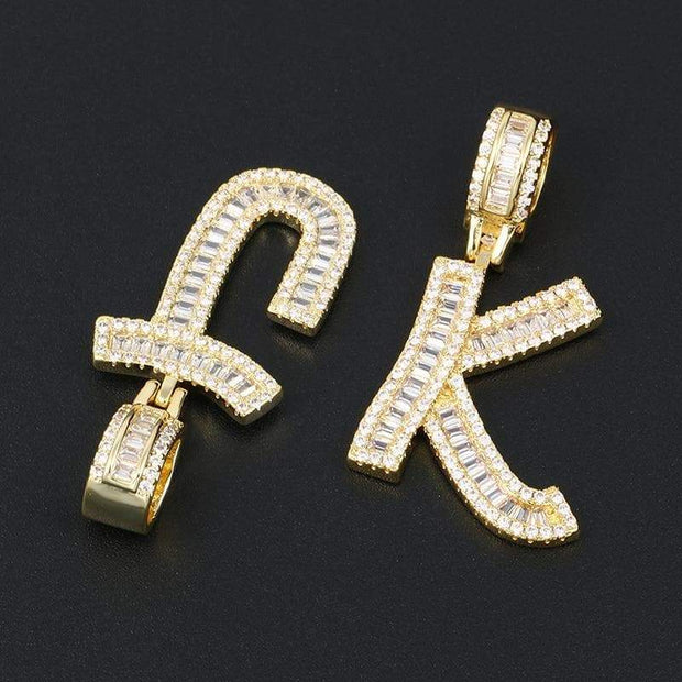 Gold Iced Out Baguette Initials Letters Pendant Neckalce For Women Men's Hip Hop Bling Zirconia Jewelry 26 Alphabet Necklace