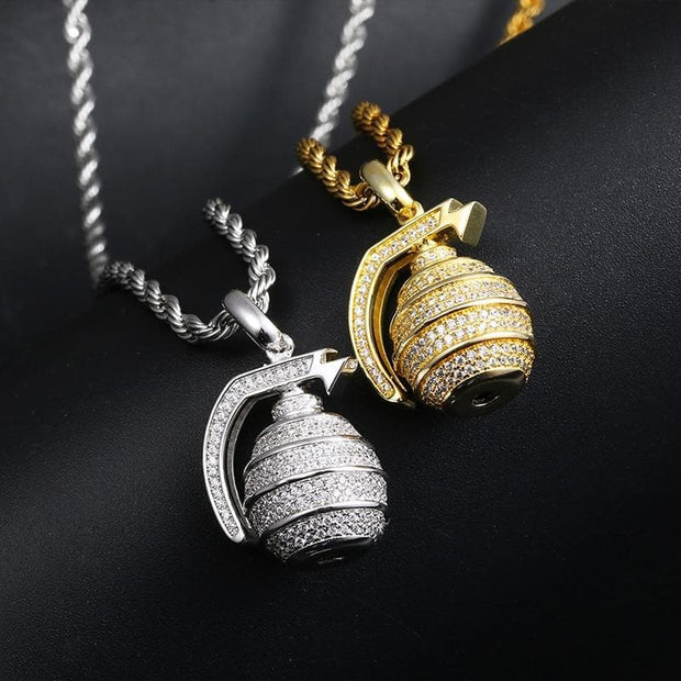 Hip Hop Iced Out Bling Hand Grenade Bomb Pendant Necklace Gold Silver Color For Women Men Cubic AAA Zircon Fashion Party Jewelry