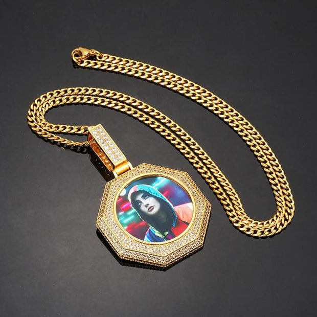 New Octagon Custom Made Picture Medallions Necklace Pendant Cubic Zircon Tennis Chain Men's Hip Hop Fashion Jewelry
