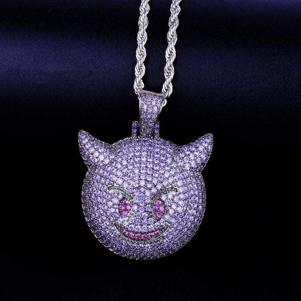 Purple Color Demon Evil Expression Necklace & Pendant With Tennis Chain Bling Zircon Fashion Hip hop Rock Street Jewelry
