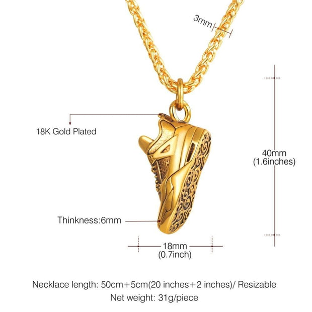Steampunk Stainless Steel Sports Shoes Pendant Necklace For Men Punk Chain Metal Choker Shoe Collares Jewelry Gifts