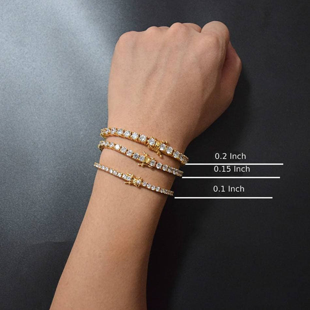 Mens AAA Cubic Zirconia Tennis Bracelet Chain Hip Hop Jewelry 1 Row Gold Color CZ Bracelet Link Birthday Gift