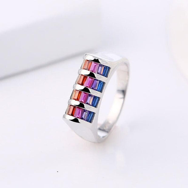 Elegant 4 Row Rainbow Crystal Rings 925 Sterling Silver Knuckles Boxing Glove Ring For Women Lady Fashion Wedding Jewelry Gifts
