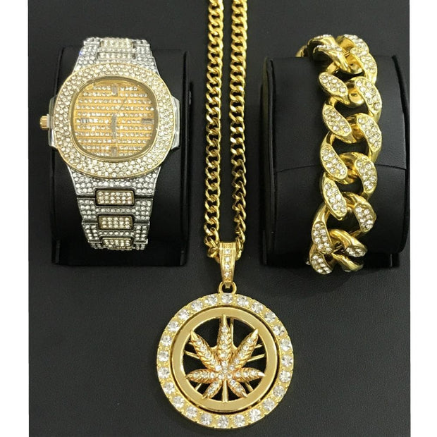 Luxury Hip Hop Diamond Watch Men Jewelry Watch & Bracelet & Necklace &Combo Set Lucky Turn Pendant Ice Out Cuban Bracelet