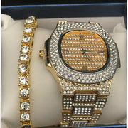 Men Watch Diamond Gold Color Ice Out Cuabn Crystal Miami Cuban Chain Gold Color Men Watch&Bracelet Set Hip Hop Jewelry King New