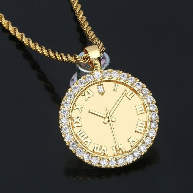 Personality Zircon Dial Pendant Hip Hop AAA CZ Stones Bling Iced Out Watch Shape For Men's Fashion Clock Rhinestone Jewelry Gift