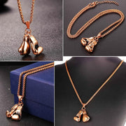 Boxing Glove Pendant Men Necklace Gold Color Stainless Steel Hip Hop Chain Fashion Sport Fitness Jewelry