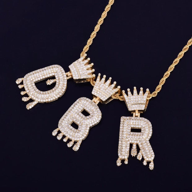 Crown Bail Drip Initials Bubble Letters Chain Necklaces & Pendant For Men Women Gold Color Cubic Zircon Hip Hop Jewelry