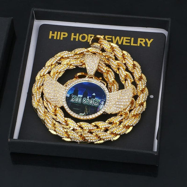 Gold Silver Custom Made Photo With Wings Medallions Necklace & Pendant Cubic Zircon Rope Chain For Men's Hip Hop Jewelry