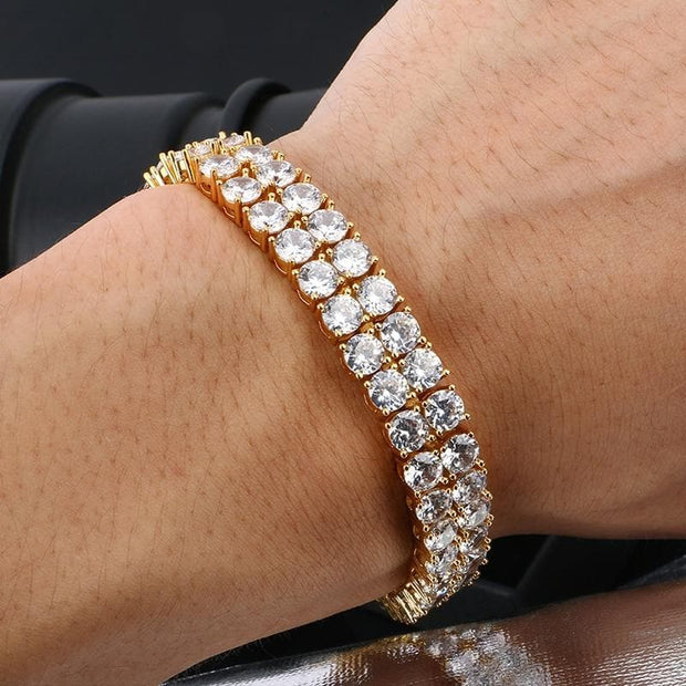 2 Row Zircon Tennis Chain 10mm(0.4 Inch) Wide Bracelet Gold Silver For Men Double Crystal Square CZ Bangle