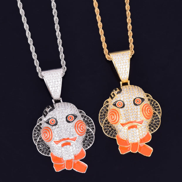 Personality Cartoon face Pendant Necklace Charm Gold Color Ice Cubic Zircon Men's Hip hop Rock Jewelry
