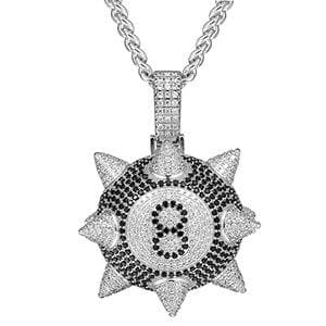 Personality Big Round Pendant Necklace Full Of Rhinestone AAA Cubic Zircon Men's Women Hip hop Rock Jewelry