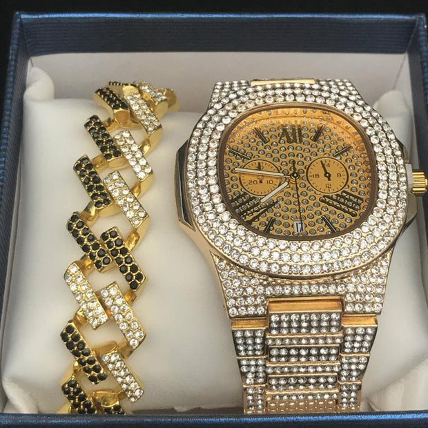 Luxe Or Hip Hop bijoux Stylish Watch Collier Combo Set Watch Diamond Men Ice Out Cuban Pendentif Men Rock Chain Collier
