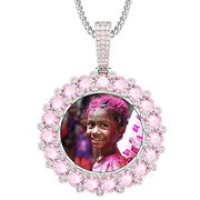 Custom Photo Round Memory Medallions Solid Pendant Necklace Gold Silver Colorful Cubic Zircon Men's Hip hop Jewelry