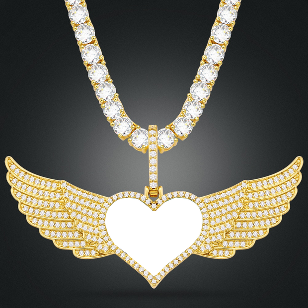 Personalized Angel Wing Custom Made Photo Heart Pendant Iced Out Cubic Zirconia Pendant For Women Men Hip Hop Jewelry
