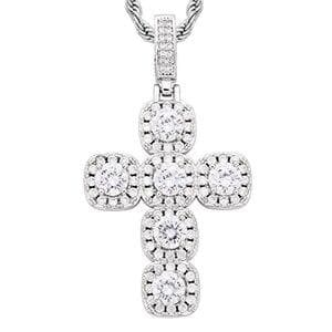 Cross Crystal Pendants Necklace For Men's Hip Hop Jewlery Big Carat Women Wedding Gift Gold Silver Fashion Chain