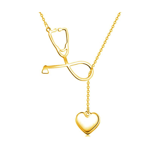 Stethoscope Women Heart Pendant Necklace Women Trendy Medical Necklace Rose Gold Silver Color Woman Fashion Chain Jewelry