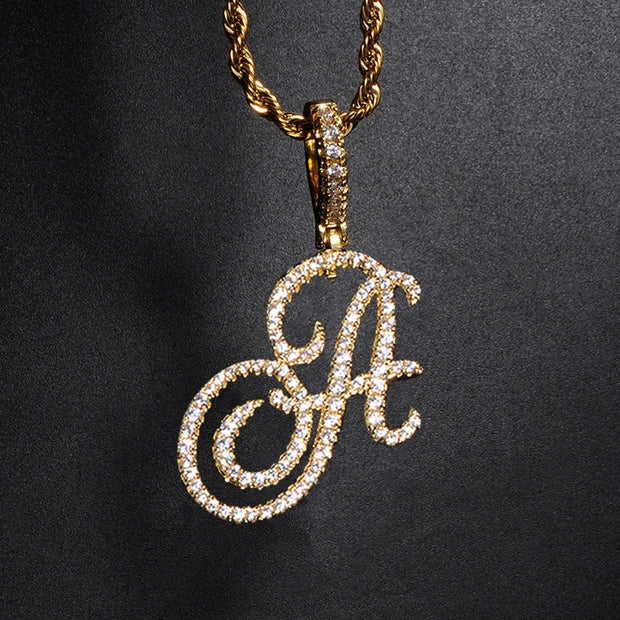 New A-Z Cursive Letters Name Pendant &Necklace Iced Out Cubic Zircon Gold Silver Color Charm Hip Hop Jewelry