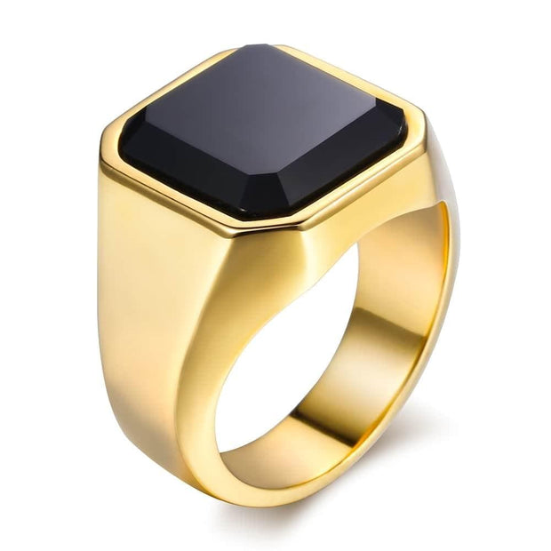 Black Carnelian CZ Gold Tone Ring for Men Boys 316L Stainless Steel Signet Rings Square Shape Royal Male Jewelry