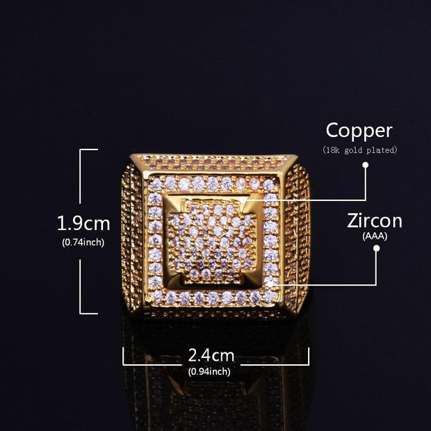 Bling Bling AAA+Cubic Zircon Ring Copper Material Gold Color Iced Full CZ Hip Hop Rings Men's Fashion Jewelry Gift