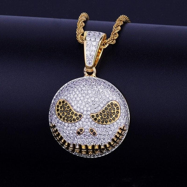 Character Round Face Pendant Necklace Free Steel Cuban Chain Gold Color Cubic Zircon Men's Hip hop Jewelry for Women