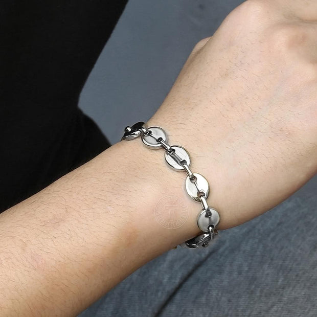 Coffee Beans Link Chain Bracelet Stainless Steel Gold Silver Color for Men Women Simple Bracelet Jewelry Gift