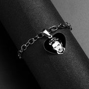 Custom Name Bracelet Men Jewelry Johnny Hallyday Heart Charm Bracelets for Women Stainless Steel Photo Baby Gold Color Bracelet