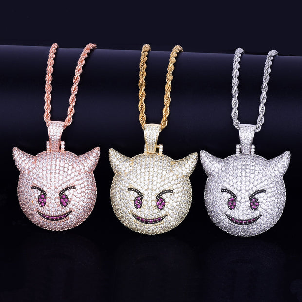 Demon Evil Expression Necklace & Pendant With Tennis Chain Gold Color Bling Zircon Fashion Hip hop Rock Street Jewelry