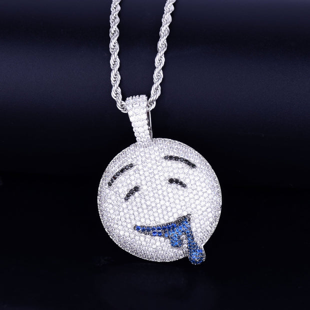 Drool Round Face Pendant With Tennis Chain Gold Color Charm Bling Cubic Zircon Men's Hip hop Necklace Rock Jewelry