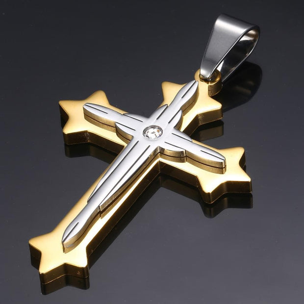 Cross Pendant Necklace For Men Black Gold Silver color Stainless Steel Pendant Necklace Includes Cuban Chain Men Hip Hop Jewelry