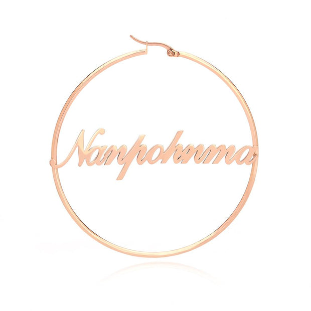 Fashion 1-2 Inch Big Hoop Earrings For Women Date Name Custom Earings Stainless Steel Rose Gold Earrings Weding bridesmaid gifts