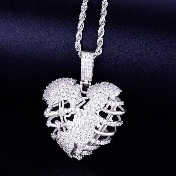 Golden broken bone Heart pendentif collier with tennis Chain AAA Cubic zirconium type Hip Hop Rock bijoux