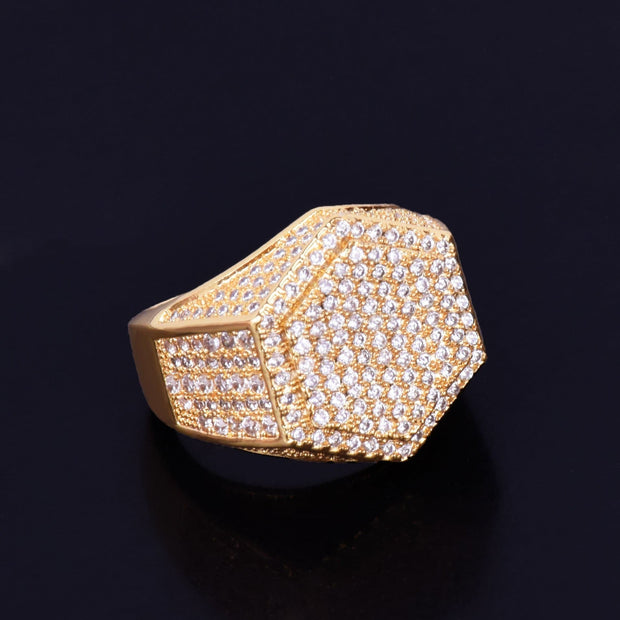 Gold Color Men's Ring 18 K Copper Charm AAA Cubic Zircon Fashion Jewelry Hip Hop Men's ring