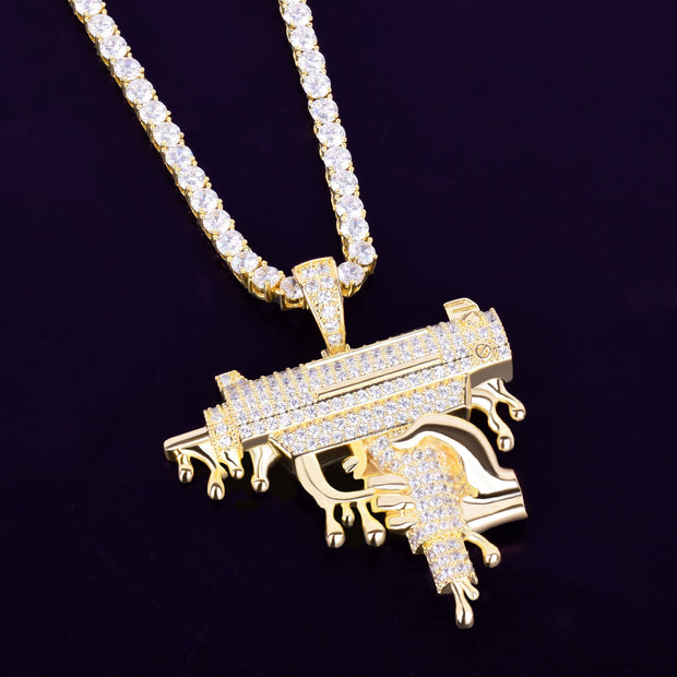 Hand Holding Dripping Gun Shape Pendant Necklace Gold Color Iced Out Cubic Zirconia Men's Hip hop Rock Jewelry